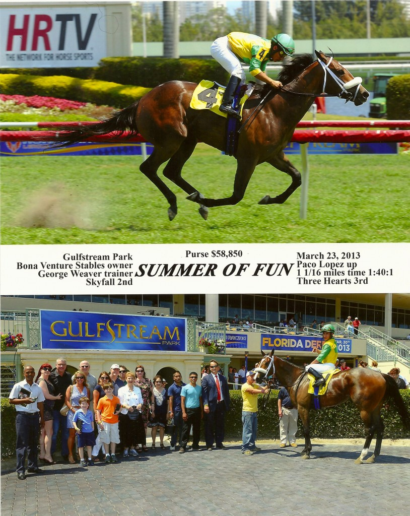 Watch Summer of Fun capture 1st place at GulfStream Park on March 23, 2013.